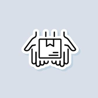 배달 서비스 스티커입니다. 상자가 있는 빠른 배달 트럭 아이콘입니다. 익스프레스 배송 로고. 격리 된 배경에 벡터입니다. eps 10.