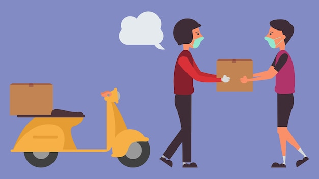 Delivery service transport products from ordering products online.distance reduce the risk infection  and disease concept taking life into the future. and illustration characters.