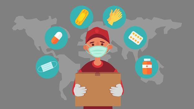 Служба доставки транспортирует продукты, заказывая продукты онлайн. расстояние снижайте риск заражения и заболевания. забирайте жизнь в будущее. и иллюстрации персонажей.