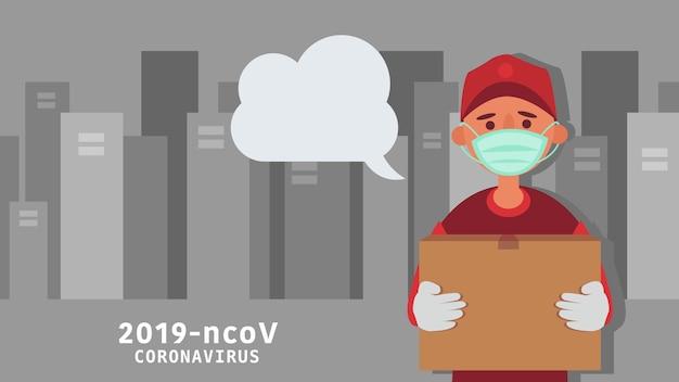 Служба доставки транспортирует продукты, заказывая продукты онлайн. расстояние снижайте риск заражения и заболевания. забирайте жизнь в будущее.