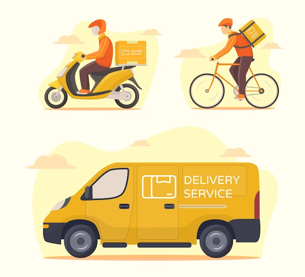Delivery service transportation set courier riding motorcycle