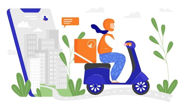 Служба доставки городской пейзаж на экране телефона и молодой человек-курьер, доставляющий пиццу