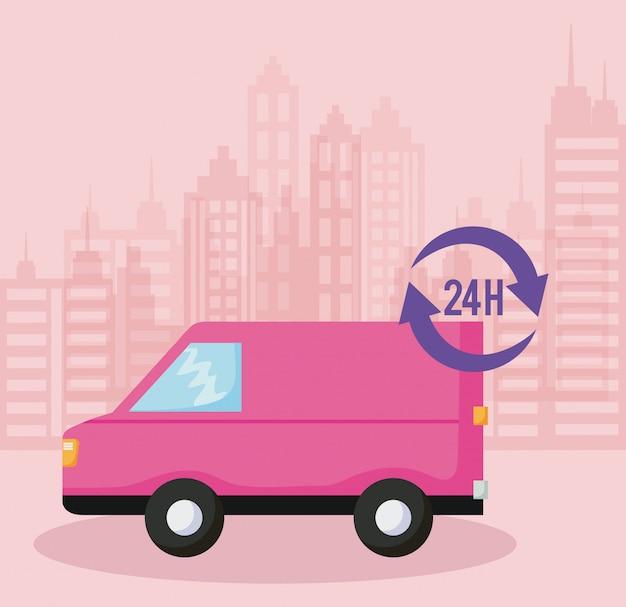 Delivery service van car of 24 hour service