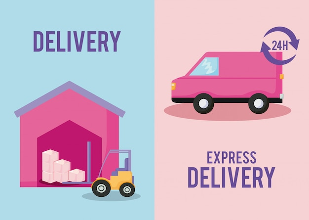 Delivery service van car with forklift