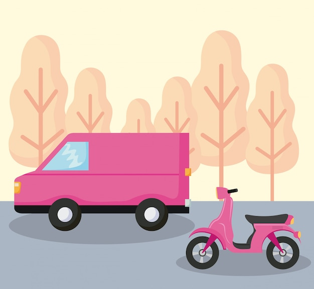 Delivery service van car with motorcycle