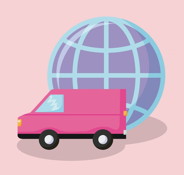 Delivery service van car with sphere planet