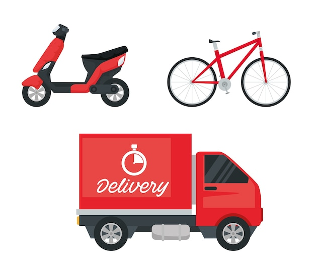 Delivery service vehicles set icons