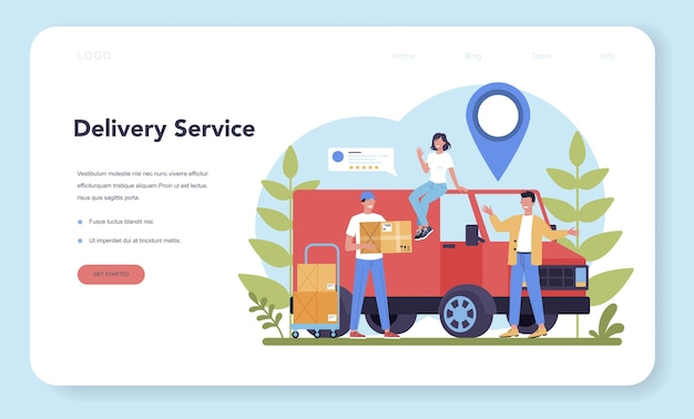 Delivery service web banner or landing page