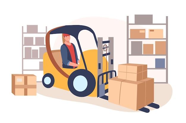 Веб-концепция службы доставки. человек на работе автопогрузчика на складе. рабочий загружает и переносит посылки. работник почтовой службы