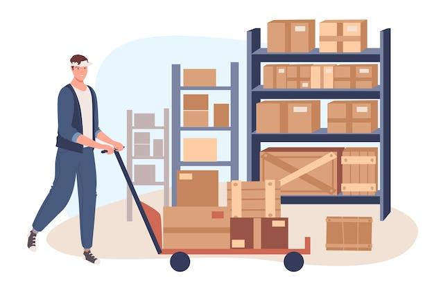 Веб-концепция службы доставки. погрузчик человек работает на складе. рабочий загружает и переносит посылки на стеллажах. работник почтовой службы