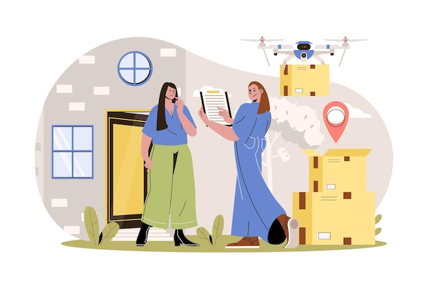 Delivery service web concept woman courier delivers parcels to client at home drone flies with box