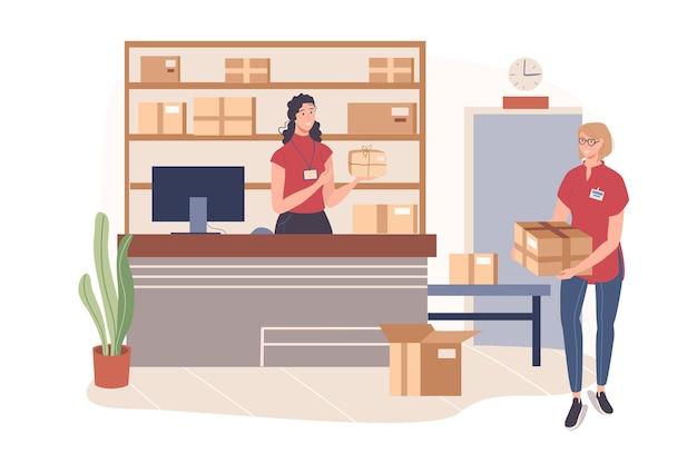 배달 서비스 웹 개념입니다. 여자들은 창고에서 일합니다. 작업자가 소포를 적재하고 운반합니다. 운영자는 컴퓨터에서 주문을 처리합니다.
