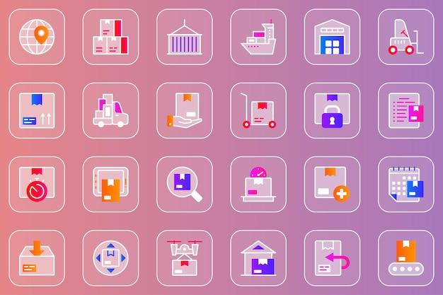 Набор веб-служб доставки стеклянных морфических иконок