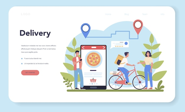 Delivery service web  landing page. courier in uniform with box from the truck. online food delivery. goods order in the internet. express logistic concept. vector illustration