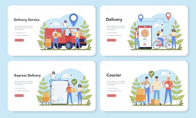 Веб-целевая страница службы доставки установлена. курьер в погонах с ящиком от грузовика. доставка еды онлайн. заказ товаров в интернете. экспресс-концепция логистики. векторная иллюстрация