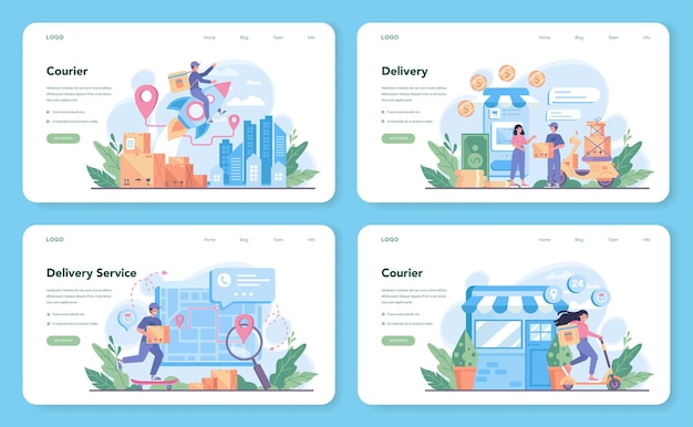 Delivery service web template or landing page set. courier in uniform