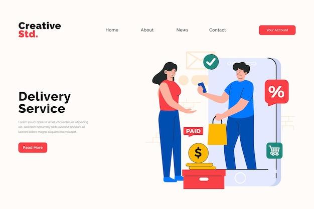 Концепция целевой страницы сайта службы доставки
