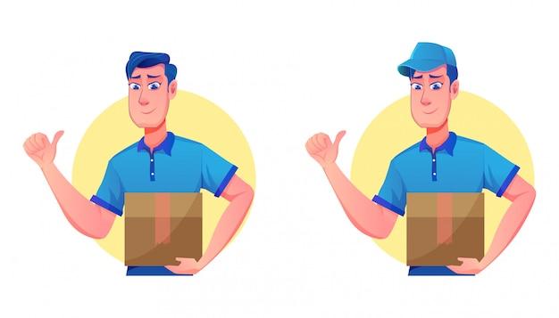 Служба доставки с доставкой шляпы и курьеров (мультфильм иллюстрация службы доставки талисмана)