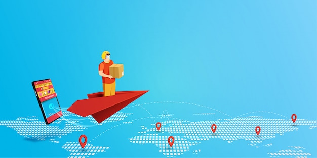 Delivery service with delivery man on red paper plane and mobile shopping application background.