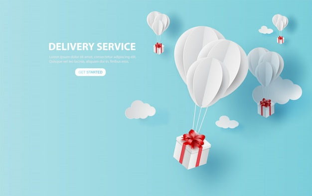 Delivery service with gift box on air blue