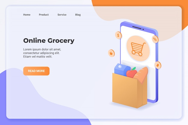 Delivery service with grocery campaign concept for website template