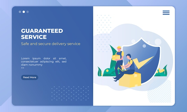 Delivery service with a guarantee on landing page template