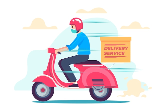 Delivery service with masks concept