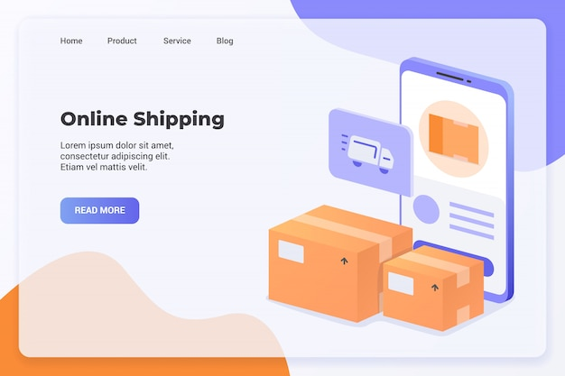 Delivery service with online shipping campaign concept for website template