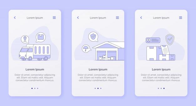 모바일 앱을위한 트럭 창고 운송 상자 캠페인 개념의 배달 서비스