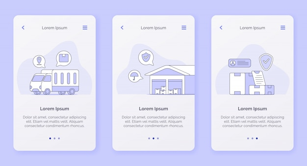 Delivery service with truck warehouse shipping box campaign concept for mobile apps