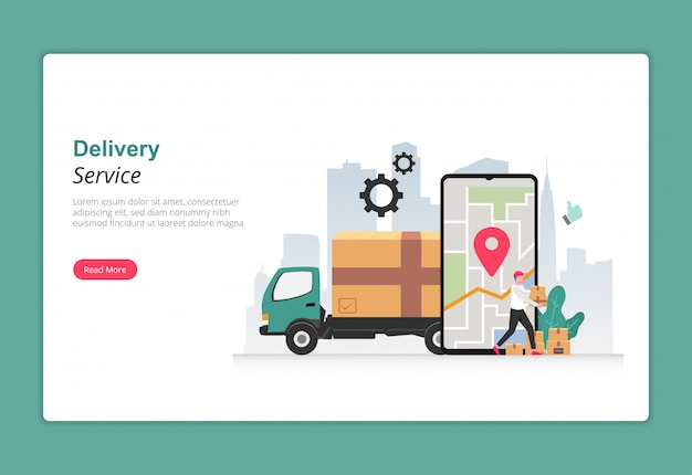Delivery service with trucking design concept. courier character carrying box package to deliver to customer.