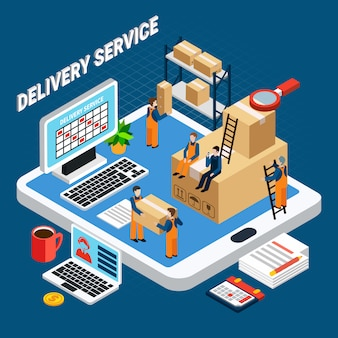 Delivery service workers on blue 3d isometric illustration