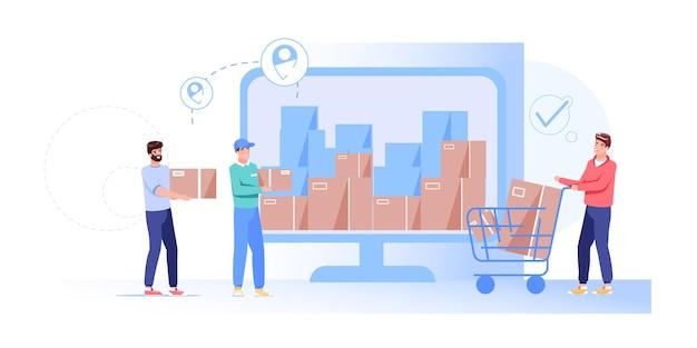 컴퓨터 화면 그림에서 배달 서비스 워크 플로-주문 된 상품