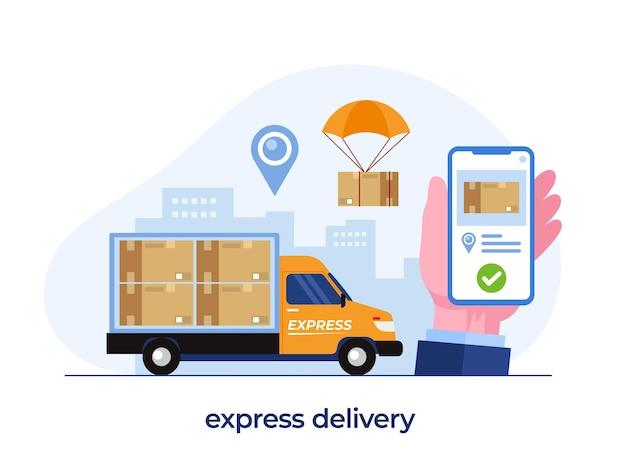 배달 서비스 개념, 온라인 배달 응용 프로그램, 패키지 팬, 배송, 평면 그림 벡터