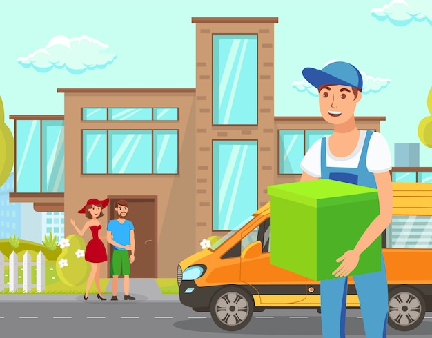 Delivery services flat cartoon vector illustration