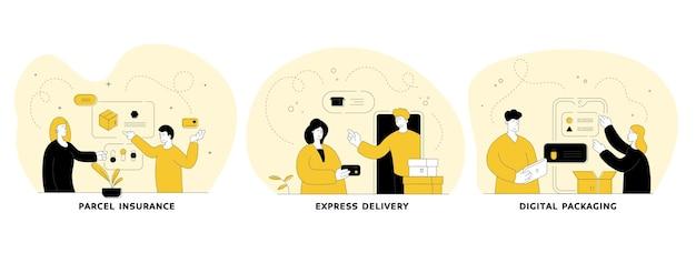 배달 서비스 평면 선형 그림을 설정합니다. 소포 보험, 특급 배송, 디지털 포장. 온라인 쇼핑 모바일 애플리케이션입니다. 사람들이 만화 캐릭터