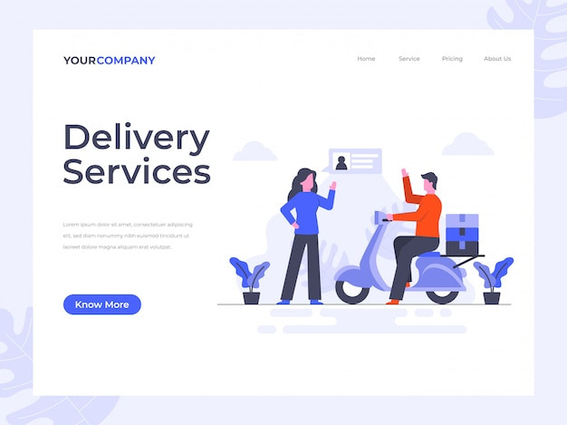 Delivery services landing page