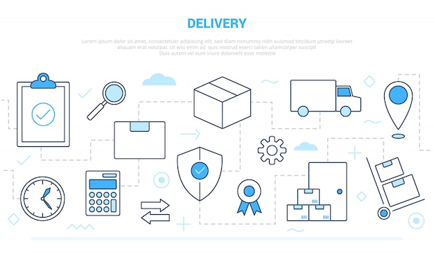Delivery shipping business concept with icon line style connected with blue white modern color style