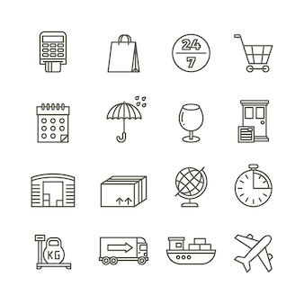 Delivery shipping logistics and cargo transport line icons