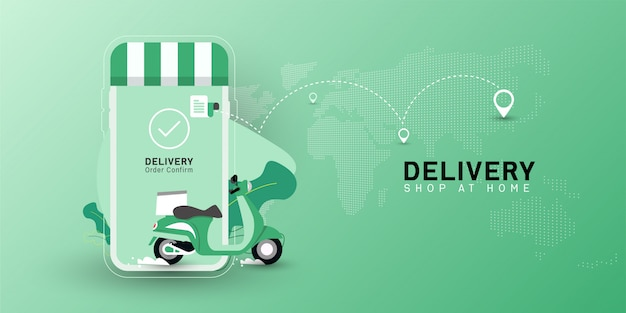 Delivery shop at home with motorcycle transport on mobile.
