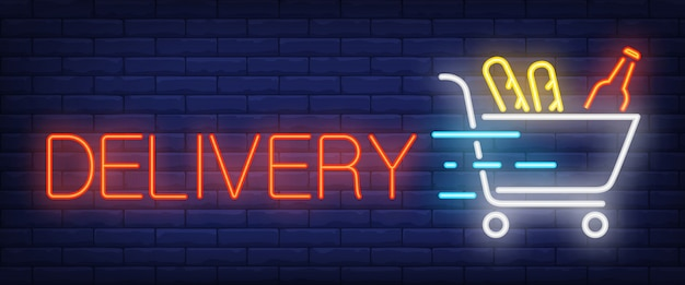 Delivery sign in neon style