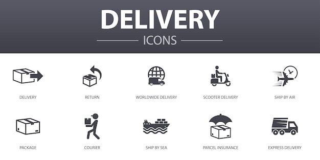 Delivery simple concept icons set. contains such icons as return, package, courier, express delivery and more, can be used for web, logo, ui/ux