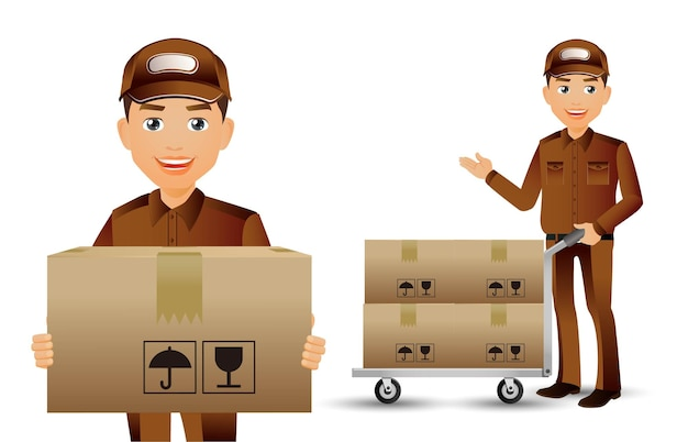 Delivery staff with different poses