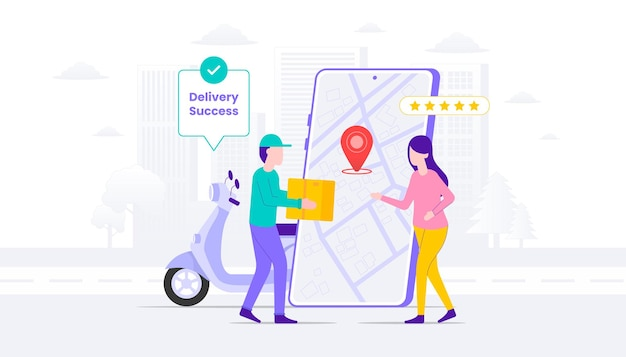 Delivery success illustration. woman cash on delivery with courier man