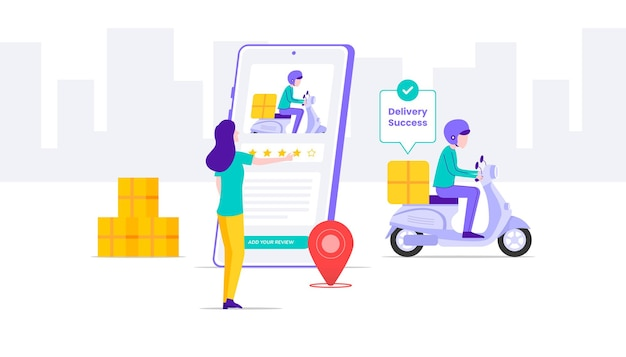 Delivery success illustration. woman leave a review to driver illustration.
