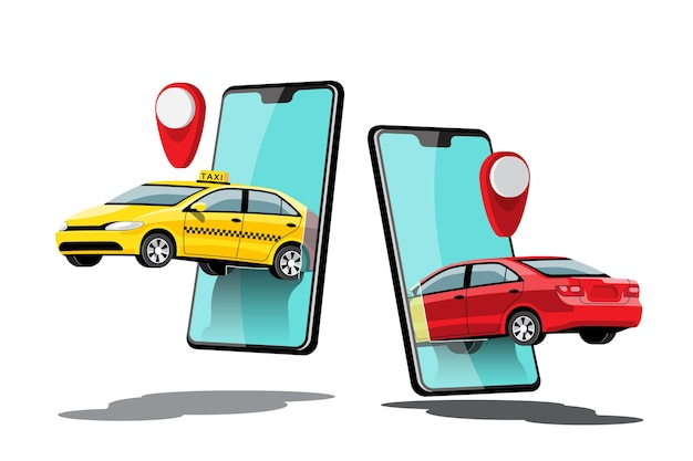 漫画のキャラクターとスマートフォンとの配達タクシーオンラインカーシェアリングスマートシティ交通の概念、イラスト
