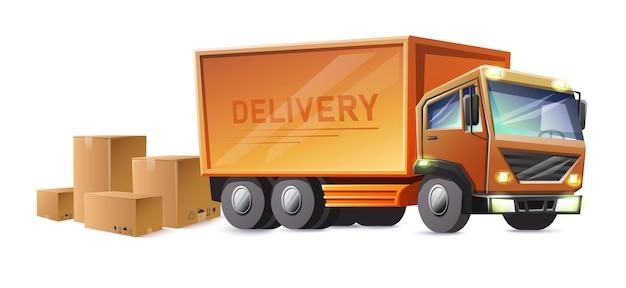 Pista di consegna con scatole di cartone