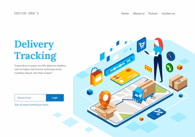 Delivery tracking for online shopping landing page template