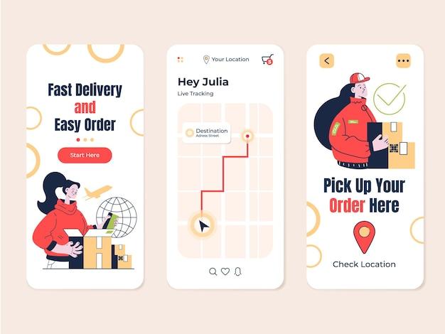 배달 추적 주문 모바일 앱 플랫 현대적인 디자인