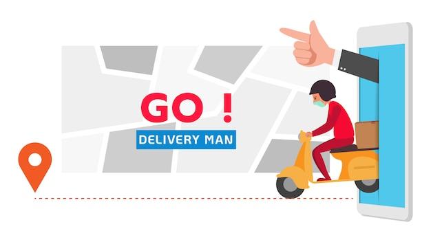 Доставка транспортный бизнес при заказе через мобильный телефон, телефон мультипликационный персонаж иллюстрации.